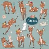 Ställ in med gulliga hare och hjortar royaltyfri illustrationer