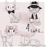 Ställ in med gulliga katter royaltyfri illustrationer