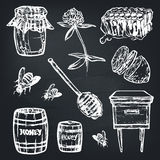 Ställ in med honungbeståndsdelar Skorra, skeda, klibba, celler, växt av släktet Trifolium, bikupan, biet, citronen, kagge stock illustrationer