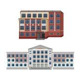 Ställ in med illustrationen för två vektor av byggnader Arkivbild