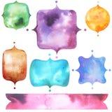 Ställ in med ljusa vattenfärgetiketter Royaltyfri Foto