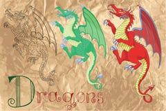 Ställ in med medeltida drakar Arkivfoto