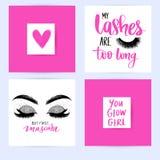 Ställ in med modekort med inspirationcitationstecken om flickor, snärtar, makeup stock illustrationer