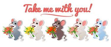 Ställ in med mouse-01 stock illustrationer