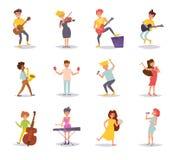 Ställ in med musiker vektor royaltyfri illustrationer