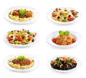 Ställ in med olik pasta och spagetti Arkivbilder