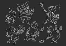 Ställ in med olika bin på svart bakgrund royaltyfri illustrationer