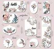 Ställ in med olika blom- etiketter royaltyfri illustrationer