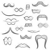 Ställ in med olika mäns mustascher och kvinnakanter Royaltyfria Foton