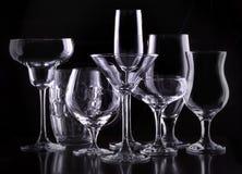 Ställ in med olika tomma exponeringsglas Royaltyfria Foton