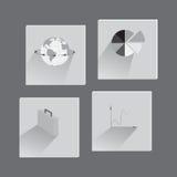 Ställ in med plana symboler på affärstema Fotografering för Bildbyråer
