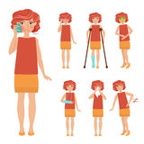 Ställ in med sjukt folk stock illustrationer