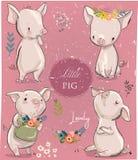 Ställ in med små svin för tecknade filmen vektor illustrationer