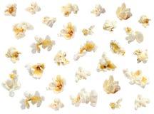 Ställ in med smakligt popcorn royaltyfri fotografi