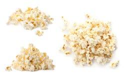 Ställ in med smakligt popcorn royaltyfri foto