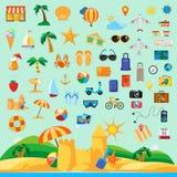 Ställ in med strandferiesymboler stock illustrationer