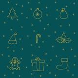 Ställ in med symboler för det nya året Arkivfoto