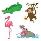 Ställ in med tecknad filmdjur Fotografering för Bildbyråer