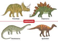 Ställ in med triceratopsen, stegosaurusen, brontosaurusen och Iguanodon på vit bakgrund Arkivbild