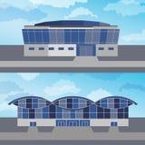 Ställ in med två moderna byggnader också vektor för coreldrawillustration Arkivbild