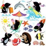 Ställ in med vågbrytaren på en strand royaltyfri illustrationer