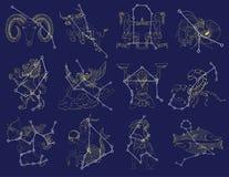 Ställ in med zodiaktecken och konstellationer vektor illustrationer