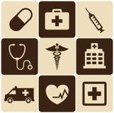 Ställ in medicinska symboler Arkivfoton