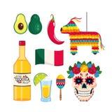 Ställ in mexikansk garnering till traditionshändelseberöm vektor illustrationer