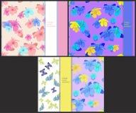 Ställ in modellen till kort med fjärilar och hibiskusen Vektor mig Arkivfoto