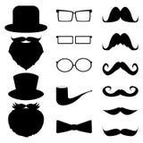 Ställ in mustaschen, hattar, exponeringsglas, Royaltyfri Foto