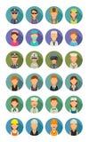 Ställ in olika yrken för symbolen Teckenkock, byggmästare, affär, armé och läkarundersökningfolk Arkivfoto