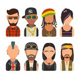 Ställ in olikt subkulturfolk för symbolen Hipster raper, emo som är rastafarian, punkrock, cyklist, goth, hippy royaltyfri illustrationer