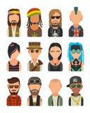 Ställ in olikt subkulturfolk för symbolen Hipster raper, emo som är rastafarian, punkrock, cyklist, goth, hippy, metalhead, steam royaltyfri illustrationer
