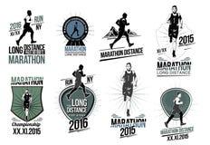 Ställ in på friidrottlogoer, etiketter, emblem och designbeståndsdelar Spring och konkurrens för emblem långdistans- Royaltyfri Foto