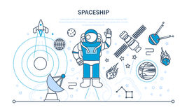 Ställ in på utrymme, rymdskepp, inklusive transport, planeter, släkta objekt, satelliter Arkivfoto