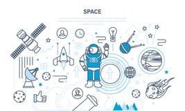 Ställ in på utrymmetema, inklusive transport, planeter, släkta objekt, satelliter Arkivfoton