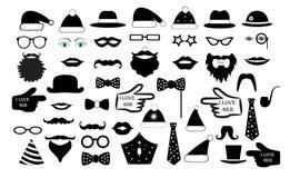 Ställ in partiet framsidan för person` s fejkar Mustascher för exponeringsglashattkanter binder illustrationen för monokelsymbols Royaltyfri Fotografi