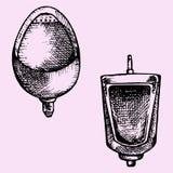 Ställ in pissoar i mäns badrum royaltyfri illustrationer