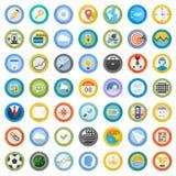 Ställ in plana runda symboler Arkivfoto