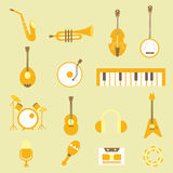 Ställ in plana symboler för musikalen Royaltyfri Foto