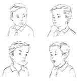 Ställ in pojkesinnesrörelser stock illustrationer