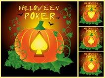Ställ in pokerallhelgonaaftonkort vektor illustrationer