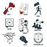 Ställ in politiksymboler, logoer Arkivfoto