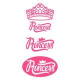 Ställ in prinsessalogoen rosa Royaltyfri Fotografi