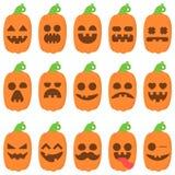 Ställ in pumpa för symbolsemojitecknade filmen orange för halloween Arkivbilder