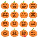 Ställ in pumpa för symbolsemojitecknade filmen orange för halloween Arkivfoto