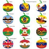 Ställ in pumpor för allhelgonaafton som flaggor av världen Royaltyfria Bilder