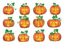 Ställ in pumpor för Halloween Royaltyfria Bilder