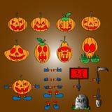 Ställ in pumpor för Halloween Arkivfoton