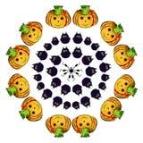 Ställ in pumpor, ugglor och spindlar sinnesrörelser lyckliga halloween Royaltyfri Foto